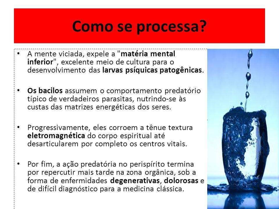 A mente viciada, expele a matéria mental inferior , excelente meio de cultura para o desenvolvimento das larvas psíquicas patogênicas.