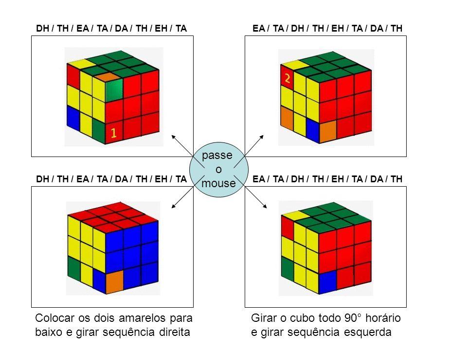 passe o mouse DH / TH / EA / TA / DA / TH / EH / TA Colocar os dois amarelos para baixo e girar sequência direita Girar o cubo todo 90° horário e gira