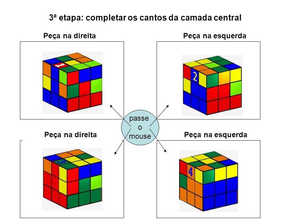 passe o mouse 3ª etapa: completar os cantos da camada central Peça na direita Peça na esquerda Peça na direitaPeça na esquerda