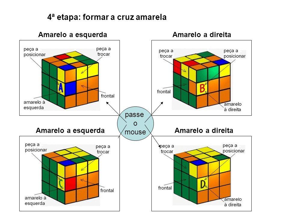 passe o mouse 4ª etapa: formar a cruz amarela Amarelo a esquerdaAmarelo a direita Amarelo a esquerdaAmarelo a direita