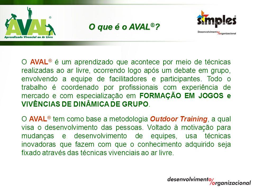 O que é o AVAL ® ? O AVAL ® é um aprendizado que acontece por meio de técnicas realizadas ao ar livre, ocorrendo logo após um debate em grupo, envolve