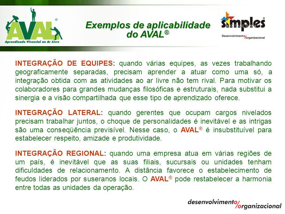 Exemplos de aplicabilidade do AVAL ® INTEGRAÇÃO DE EQUIPES: quando várias equipes, as vezes trabalhando geograficamente separadas, precisam aprender a