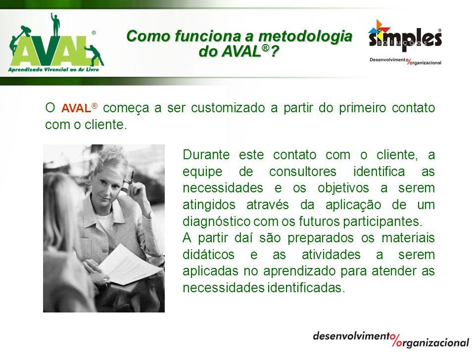 O AVAL ® começa a ser customizado a partir do primeiro contato com o cliente. Durante este contato com o cliente, a equipe de consultores identifica a