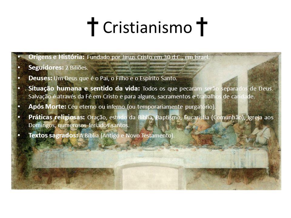 Cristianismo Origens e História: Fundado por Jesus Cristo em 30 d.C., em Israel.