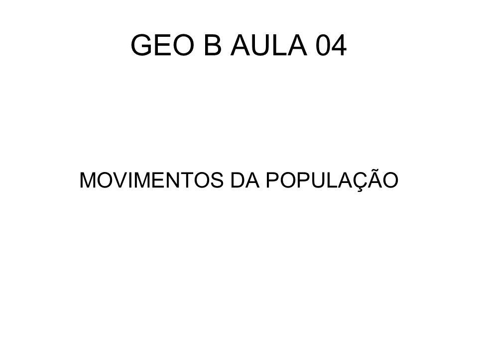 GEO B AULA 04 MOVIMENTOS DA POPULAÇÃO