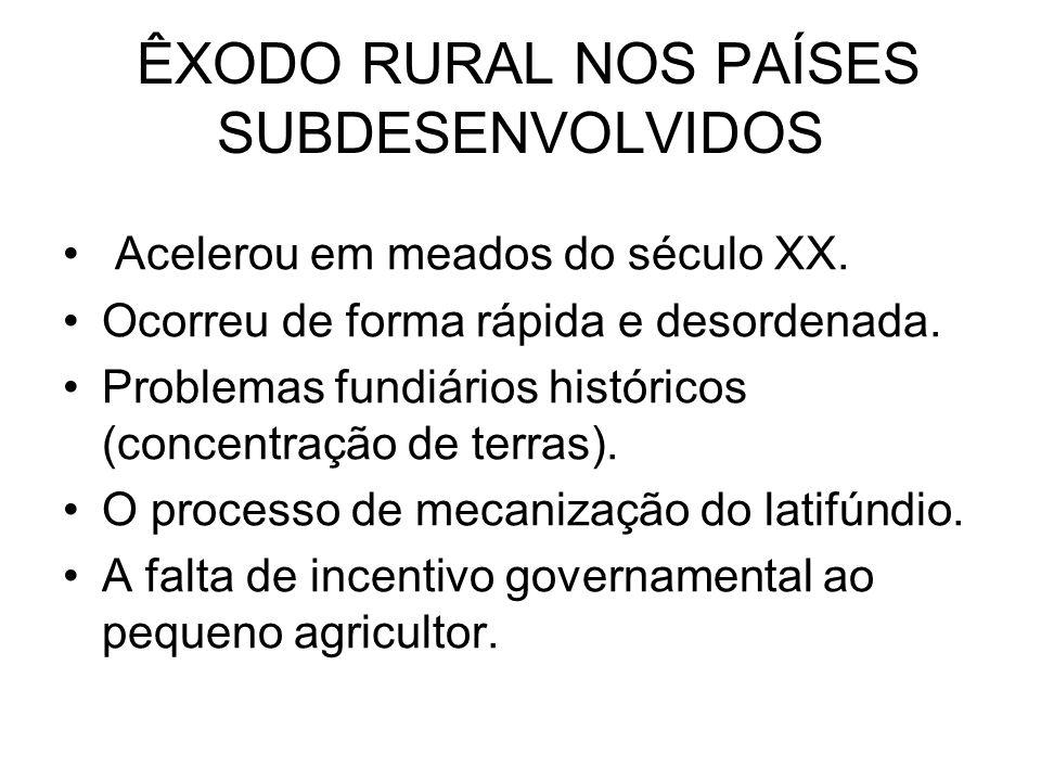 ÊXODO RURAL NOS PAÍSES SUBDESENVOLVIDOS Acelerou em meados do século XX.