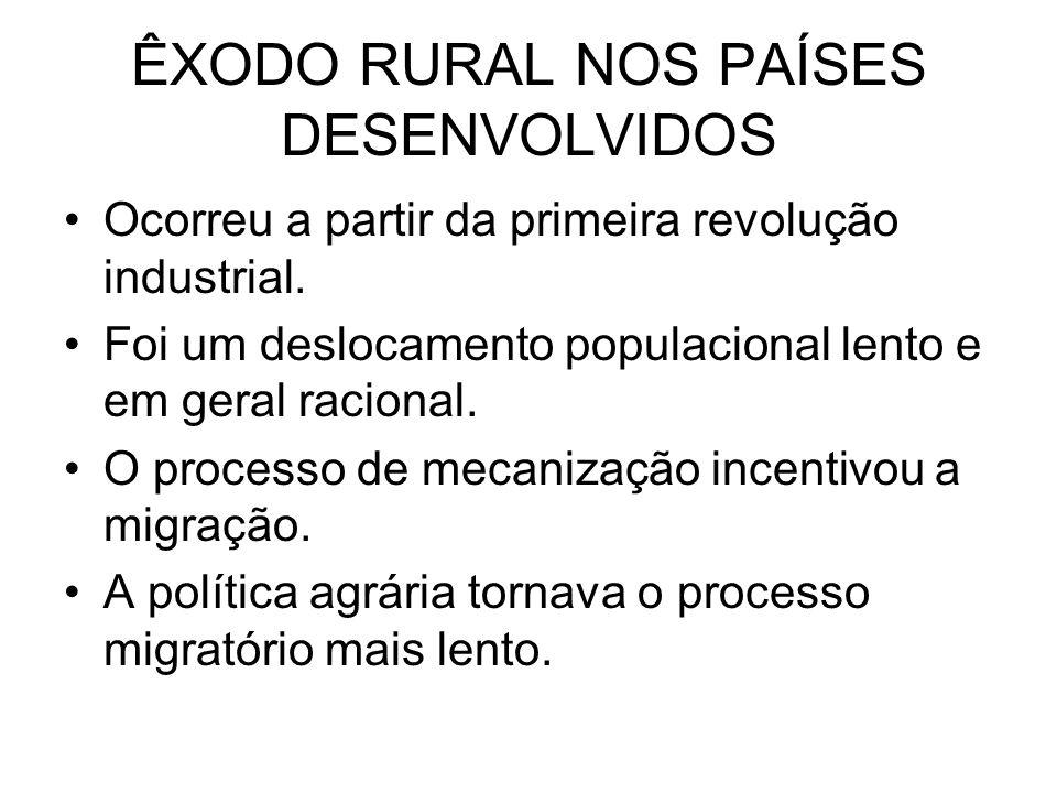 ÊXODO RURAL NOS PAÍSES DESENVOLVIDOS Ocorreu a partir da primeira revolução industrial.