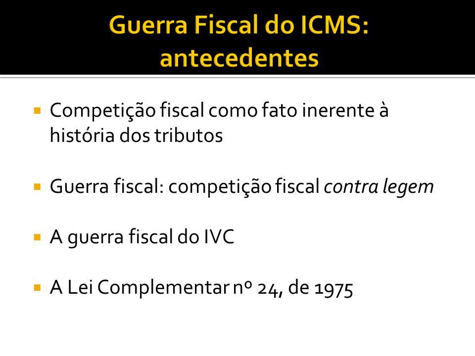 Competição fiscal como fato inerente à história dos tributos Guerra fiscal: competição fiscal contra legem A guerra fiscal do IVC A Lei Complementar nº 24, de 1975
