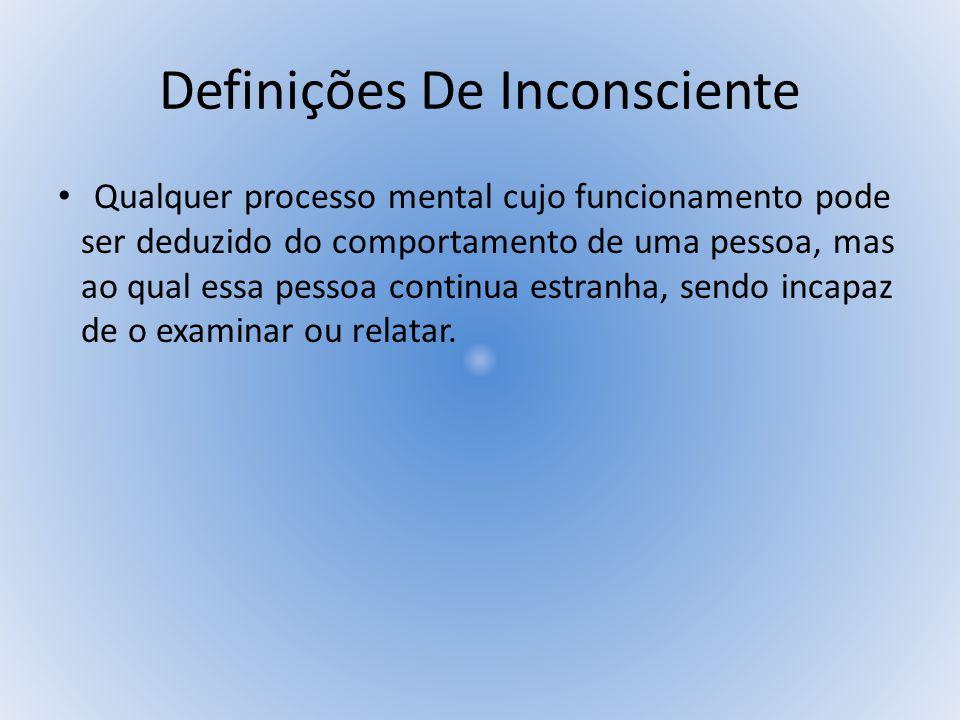 Definições De Inconsciente Para Sigmund Freud, o inconsciente é a verdadeira realidade psíquica, em sua natureza mais íntima, é tão desconhecido de nós quanto a realidade e é tão incompletamente apresentado pelos dados da consciência quanto o mundo externo pelas comunicações de nossos órgãos sensoriais.
