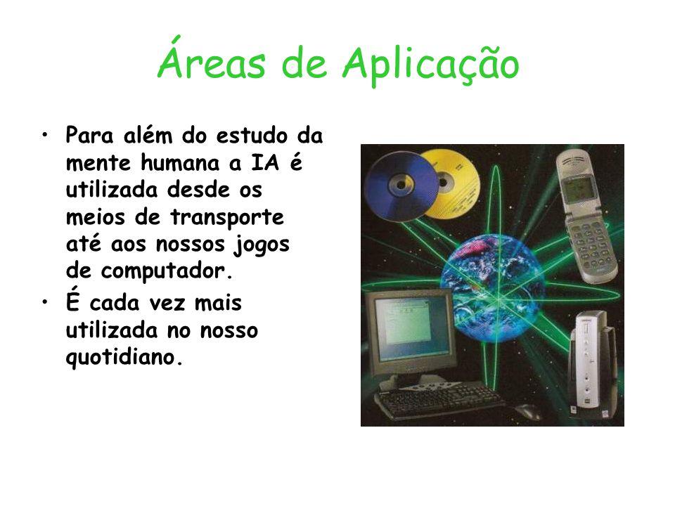 Áreas de Aplicação Para além do estudo da mente humana a IA é utilizada desde os meios de transporte até aos nossos jogos de computador. É cada vez ma