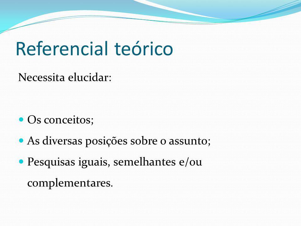 Referencial teórico Necessita elucidar: Os conceitos; As diversas posições sobre o assunto; Pesquisas iguais, semelhantes e/ou complementares.