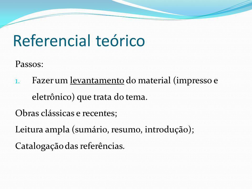 Referencial teórico Passos: 1. Fazer um levantamento do material (impresso e eletrônico) que trata do tema. Obras clássicas e recentes; Leitura ampla