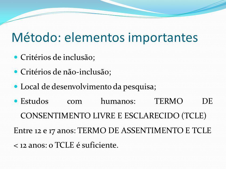 Método: elementos importantes Critérios de inclusão; Critérios de não-inclusão; Local de desenvolvimento da pesquisa; Estudos com humanos: TERMO DE CO