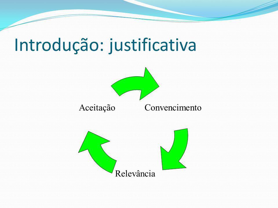 Introdução: justificativa Convencimento Relevância Aceitação