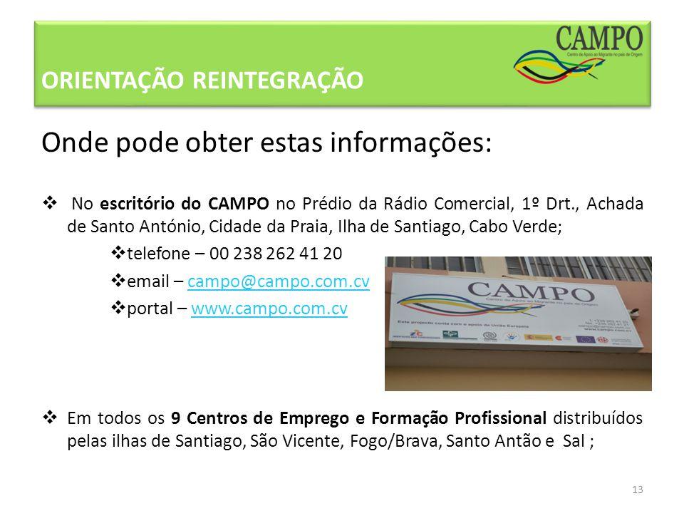 Onde pode obter estas informações: No escritório do CAMPO no Prédio da Rádio Comercial, 1º Drt., Achada de Santo António, Cidade da Praia, Ilha de San