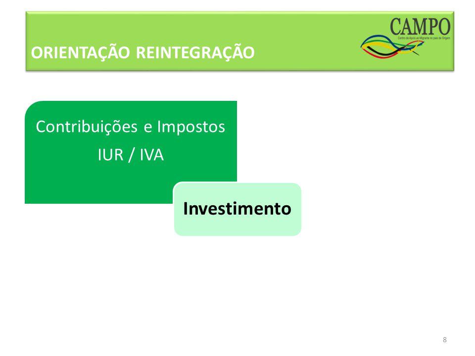 ORIENTAÇÃO REINTEGRAÇÃO 8 Contribuições e Impostos IUR / IVA Investimento