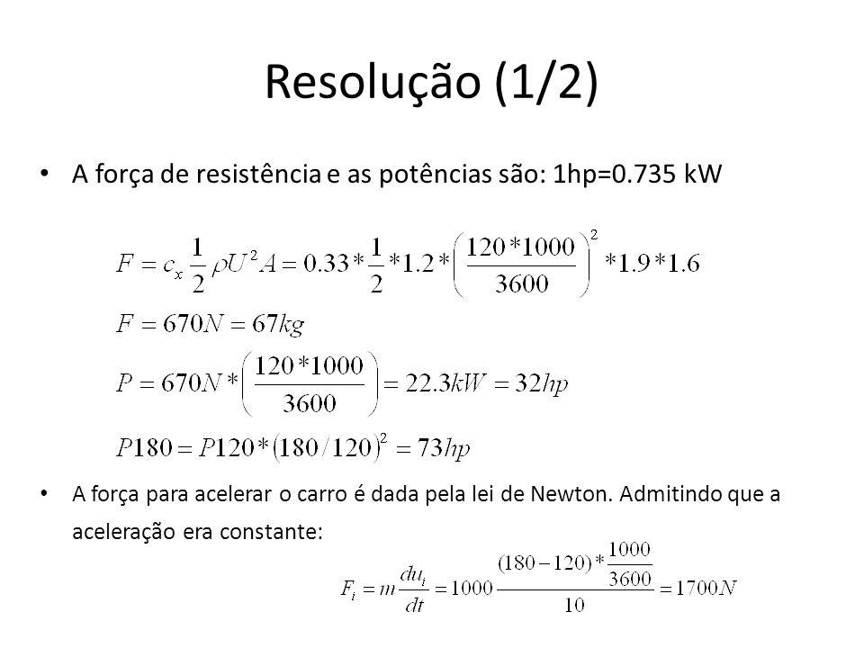 Resolução (1/2) A força de resistência e as potências são: 1hp=0.735 kW A força para acelerar o carro é dada pela lei de Newton. Admitindo que a acele
