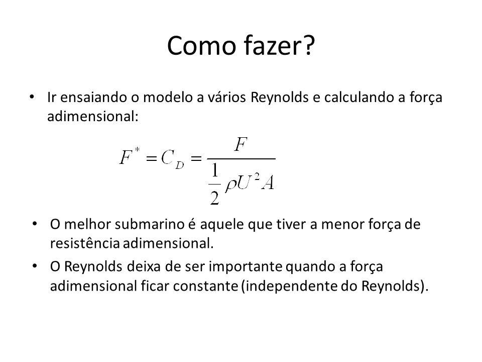 Como fazer? Ir ensaiando o modelo a vários Reynolds e calculando a força adimensional: O melhor submarino é aquele que tiver a menor força de resistên