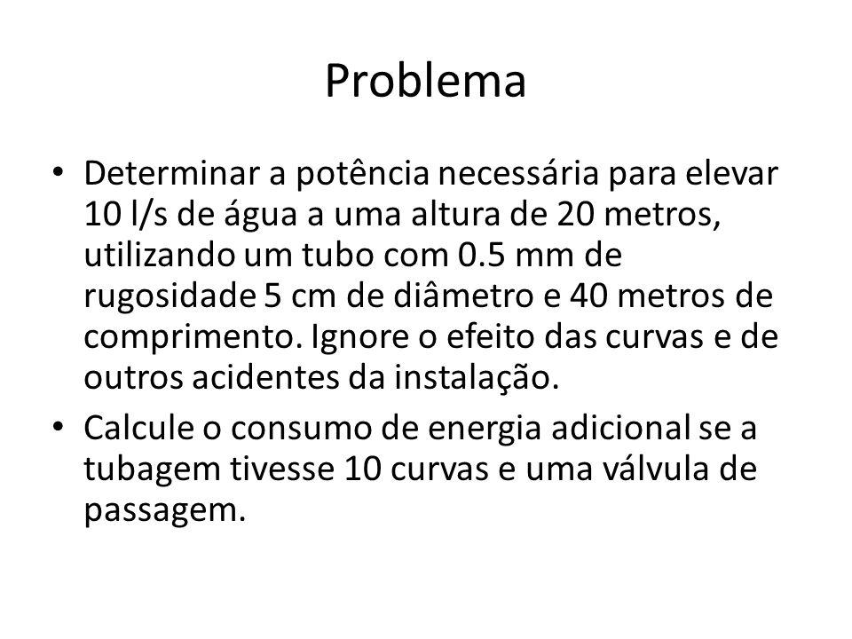 Problema Determinar a potência necessária para elevar 10 l/s de água a uma altura de 20 metros, utilizando um tubo com 0.5 mm de rugosidade 5 cm de di