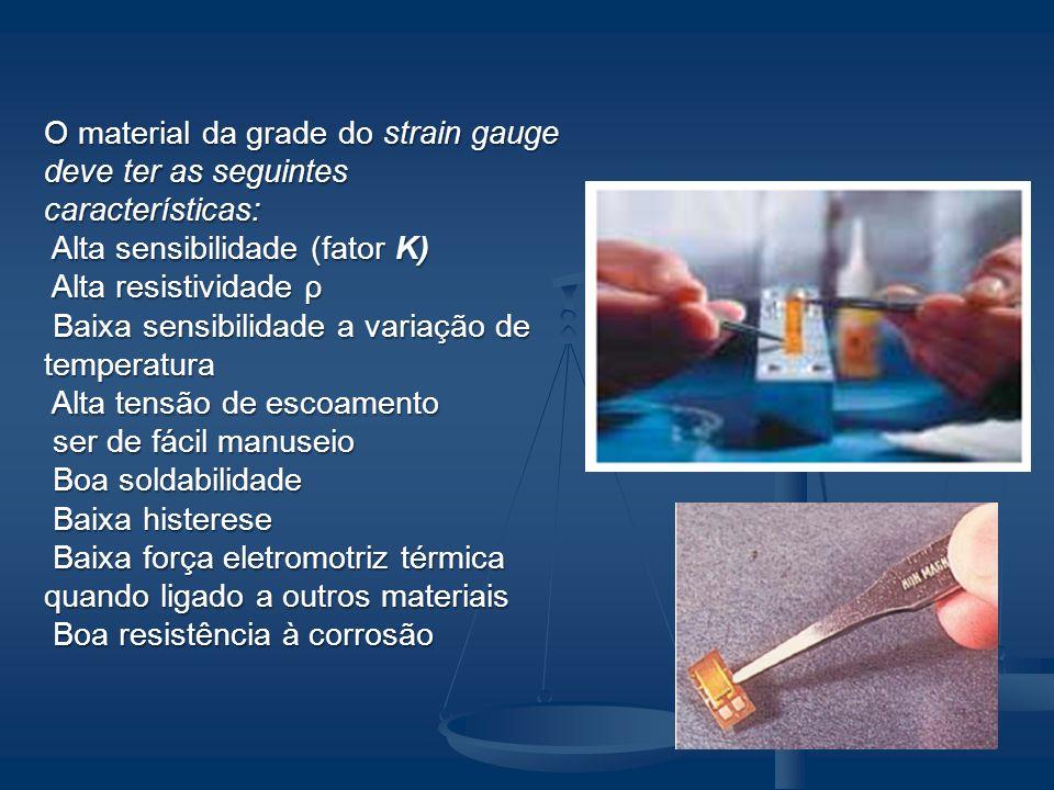 O material da grade do strain gauge deve ter as seguintes características: Alta sensibilidade (fator K) Alta sensibilidade (fator K) Alta resistividad