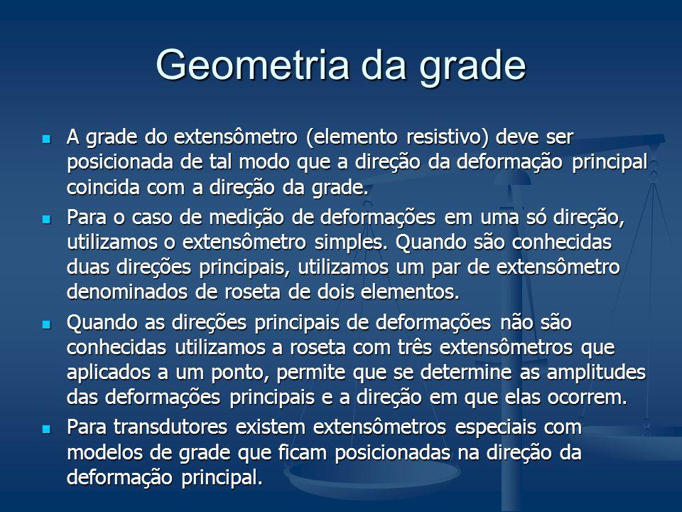 Geometria da grade A grade do extensômetro (elemento resistivo) deve ser posicionada de tal modo que a direção da deformação principal coincida com a
