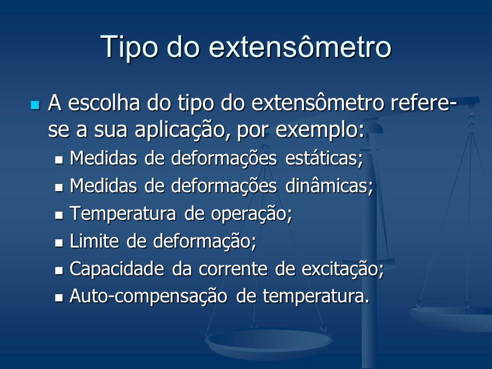 Tipo do extensômetro A escolha do tipo do extensômetro refere- se a sua aplicação, por exemplo: A escolha do tipo do extensômetro refere- se a sua apl
