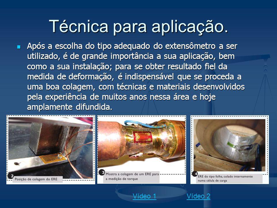 Técnica para aplicação. Após a escolha do tipo adequado do extensômetro a ser utilizado, é de grande importância a sua aplicação, bem como a sua insta