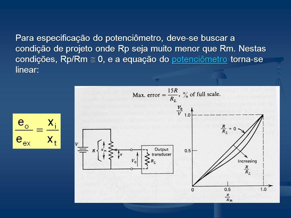 Para especificação do potenciômetro, deve-se buscar a condição de projeto onde Rp seja muito menor que Rm. Nestas condições, Rp/Rm 0, e a equação do p