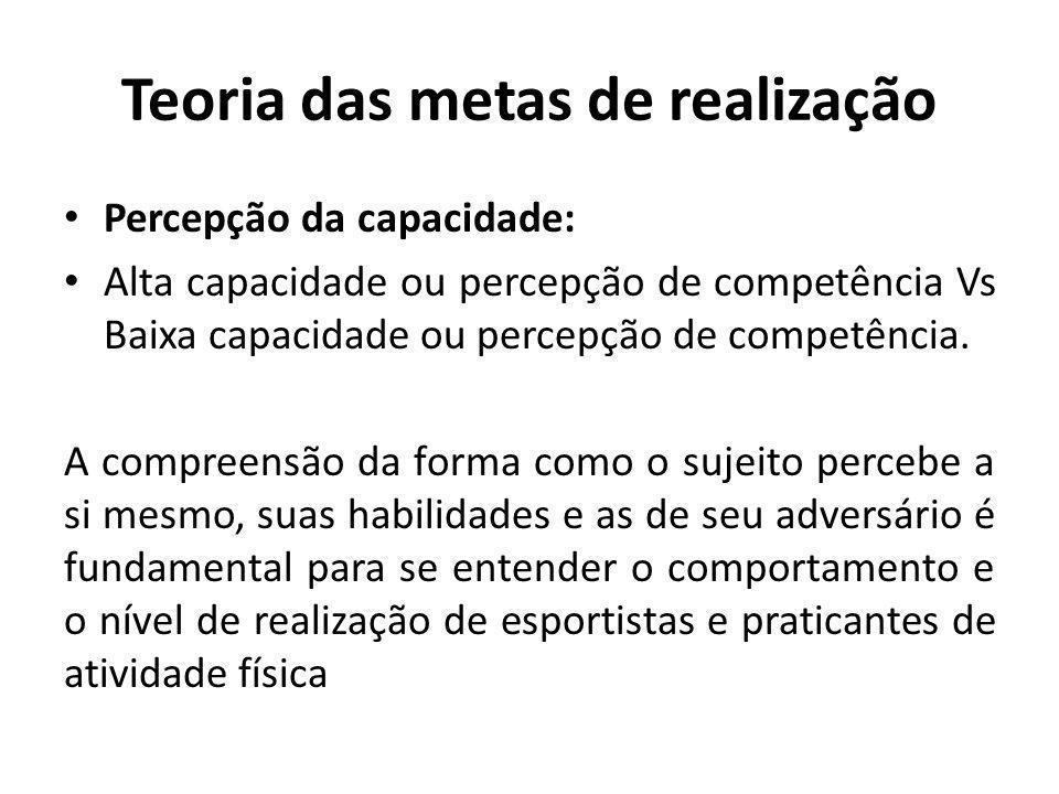 Teoria das metas de realização Percepção da capacidade: Alta capacidade ou percepção de competência Vs Baixa capacidade ou percepção de competência.