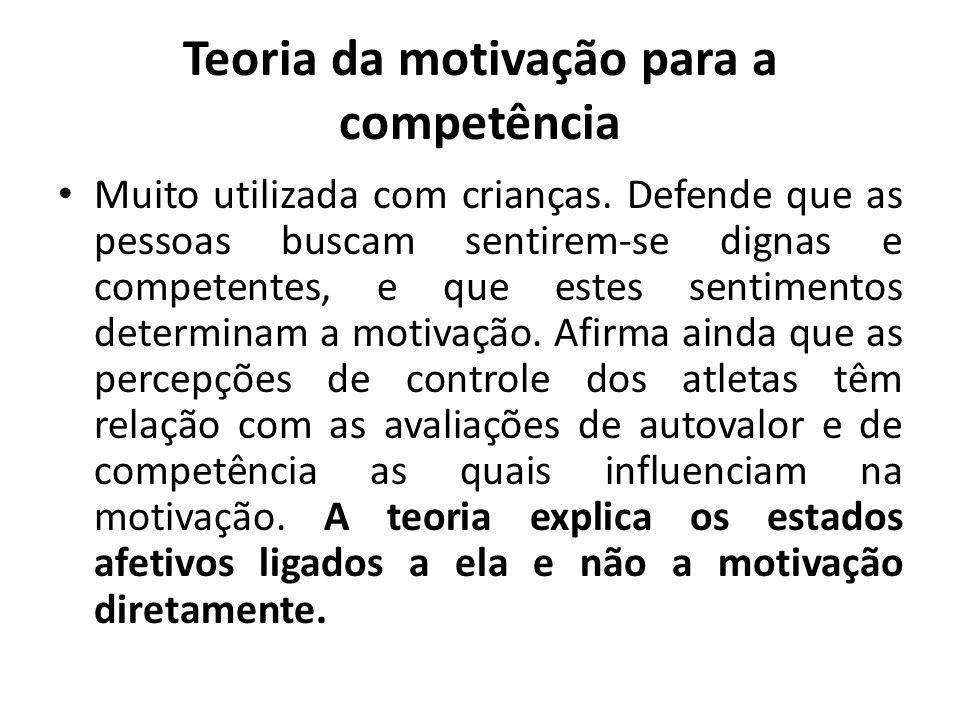 Teoria da motivação para a competência Muito utilizada com crianças.