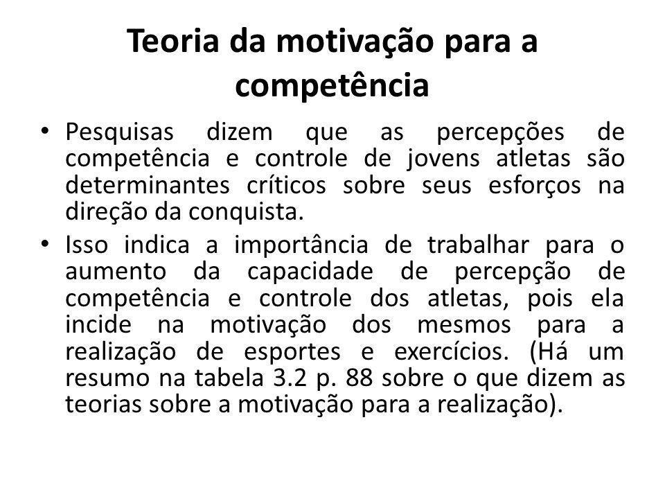 Teoria da motivação para a competência Pesquisas dizem que as percepções de competência e controle de jovens atletas são determinantes críticos sobre seus esforços na direção da conquista.