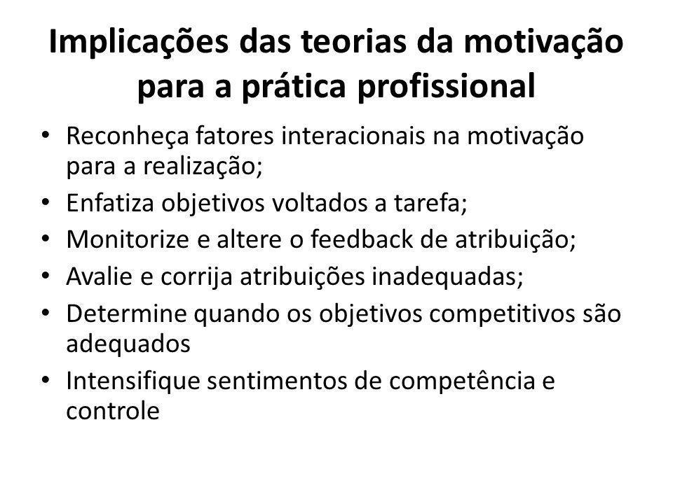 Implicações das teorias da motivação para a prática profissional Reconheça fatores interacionais na motivação para a realização; Enfatiza objetivos voltados a tarefa; Monitorize e altere o feedback de atribuição; Avalie e corrija atribuições inadequadas; Determine quando os objetivos competitivos são adequados Intensifique sentimentos de competência e controle
