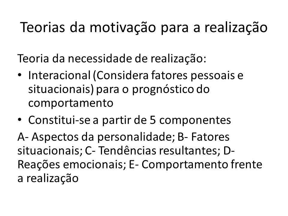 Teorias da motivação para a realização Teoria da necessidade de realização: Interacional (Considera fatores pessoais e situacionais) para o prognóstico do comportamento Constitui-se a partir de 5 componentes A- Aspectos da personalidade; B- Fatores situacionais; C- Tendências resultantes; D- Reações emocionais; E- Comportamento frente a realização