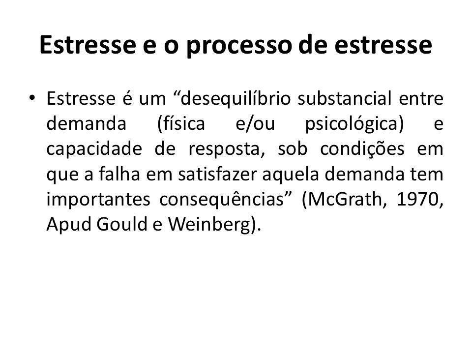 Estresse e o processo de estresse Estresse é um desequilíbrio substancial entre demanda (física e/ou psicológica) e capacidade de resposta, sob condições em que a falha em satisfazer aquela demanda tem importantes consequências (McGrath, 1970, Apud Gould e Weinberg).