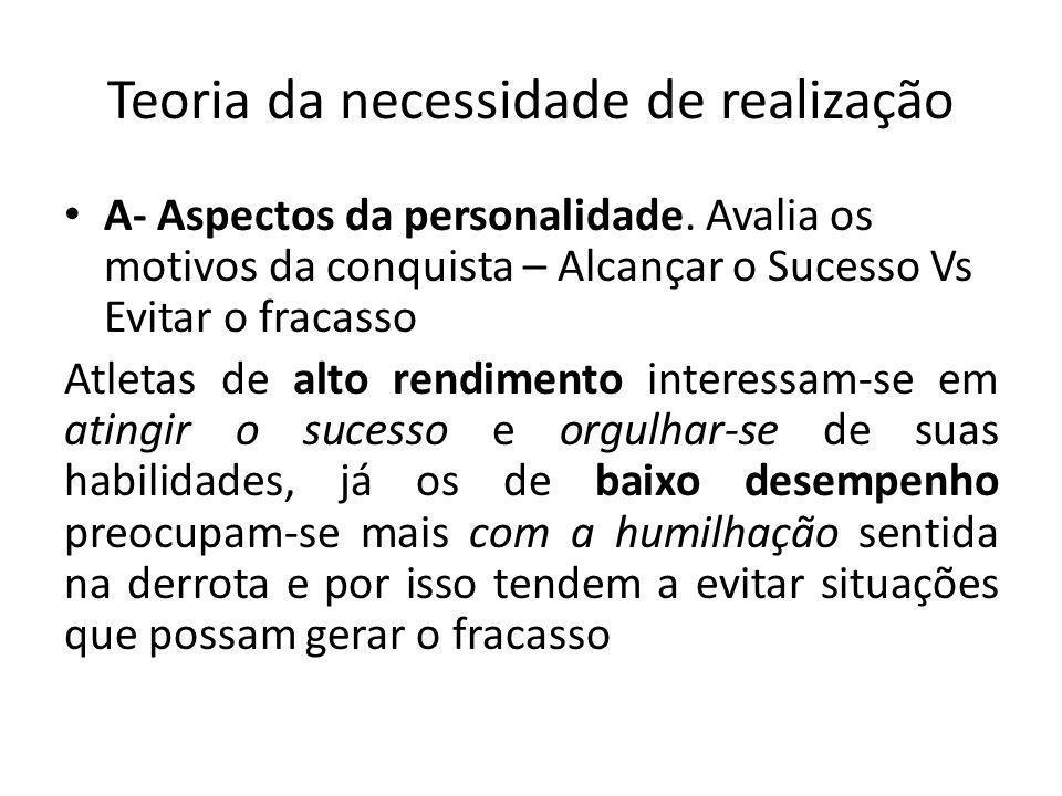 Teoria das metas de realização Comportamento frente a realiazação: É influenciado pelas últimas duas variáveis.