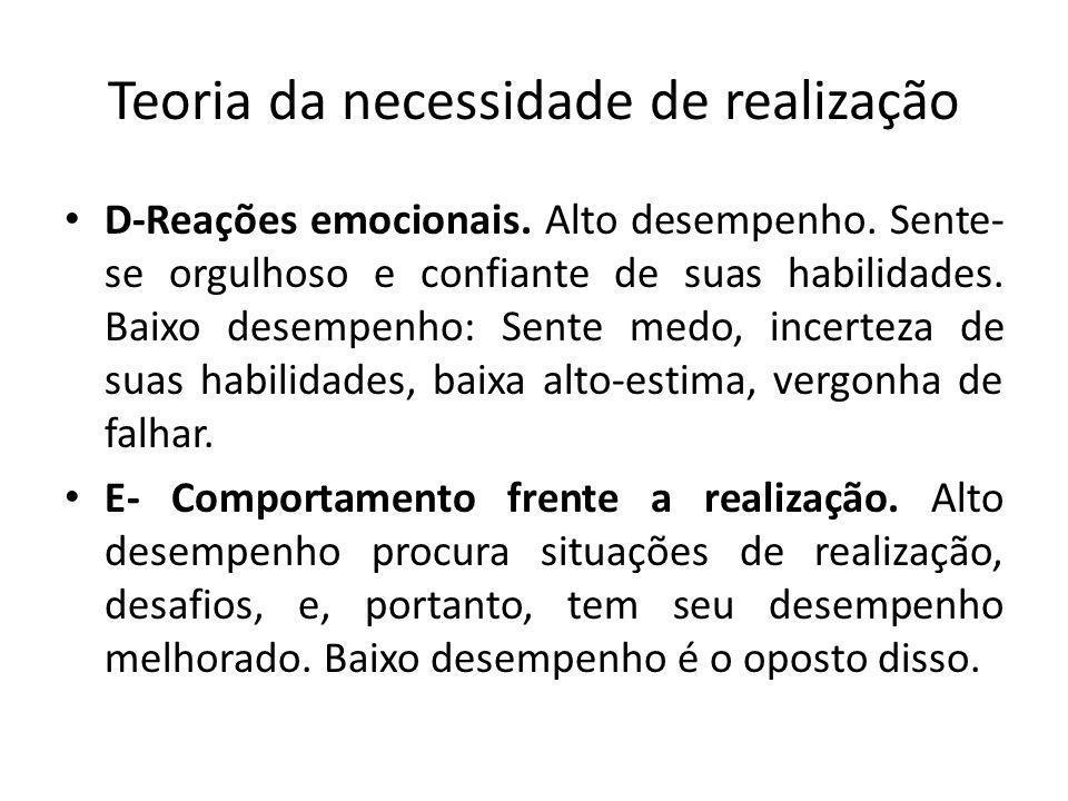 Teoria da necessidade de realização D-Reações emocionais.