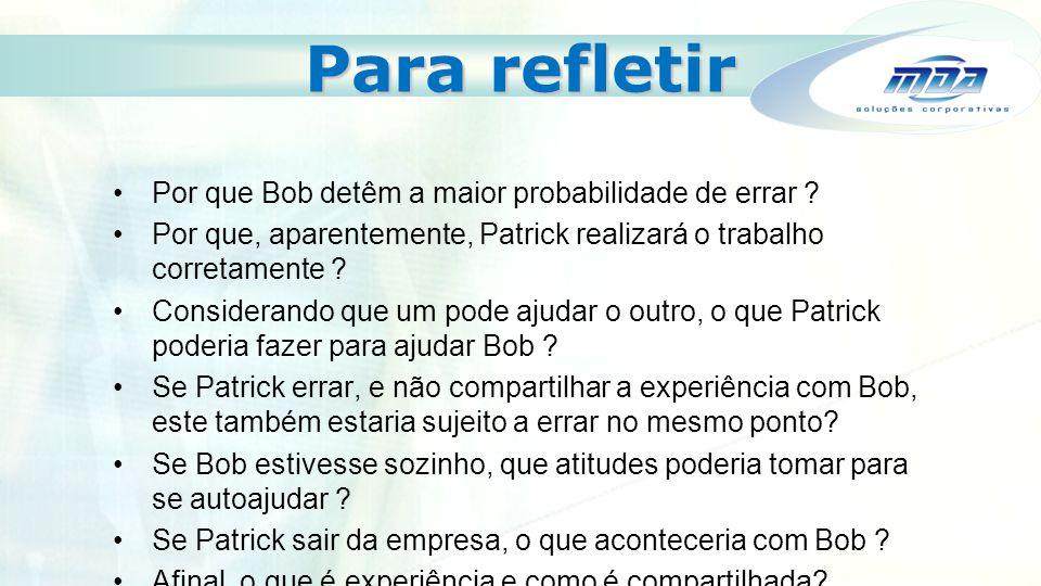 Para refletir Por que Bob detêm a maior probabilidade de errar ? Por que, aparentemente, Patrick realizará o trabalho corretamente ? Considerando que