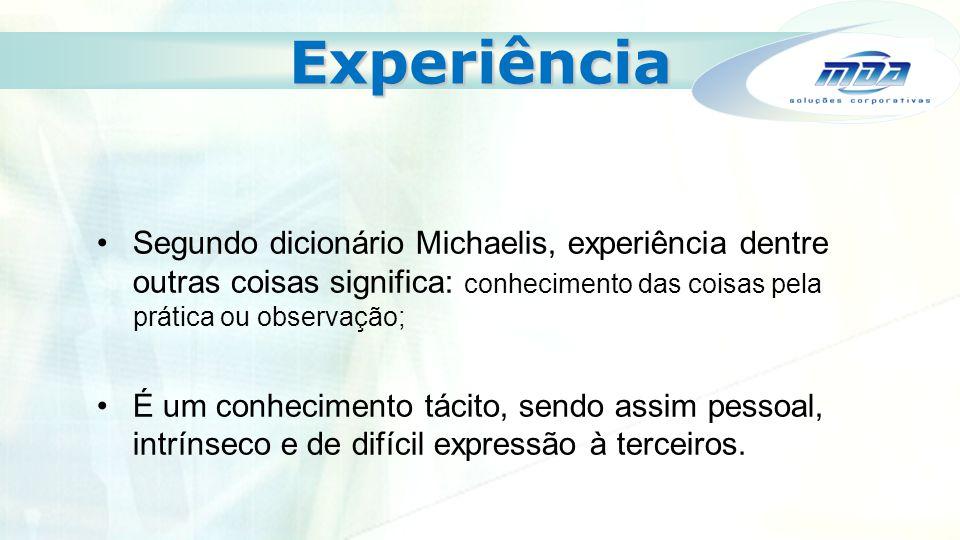 Experiência Segundo dicionário Michaelis, experiência dentre outras coisas significa: conhecimento das coisas pela prática ou observação; É um conheci