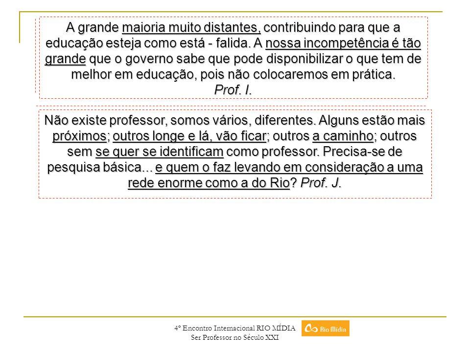 4º Encontro Internacional RIO MÍDIA Ser Professor no Século XXI Não existe professor, somos vários, diferentes. Alguns estão mais próximos; outros lon