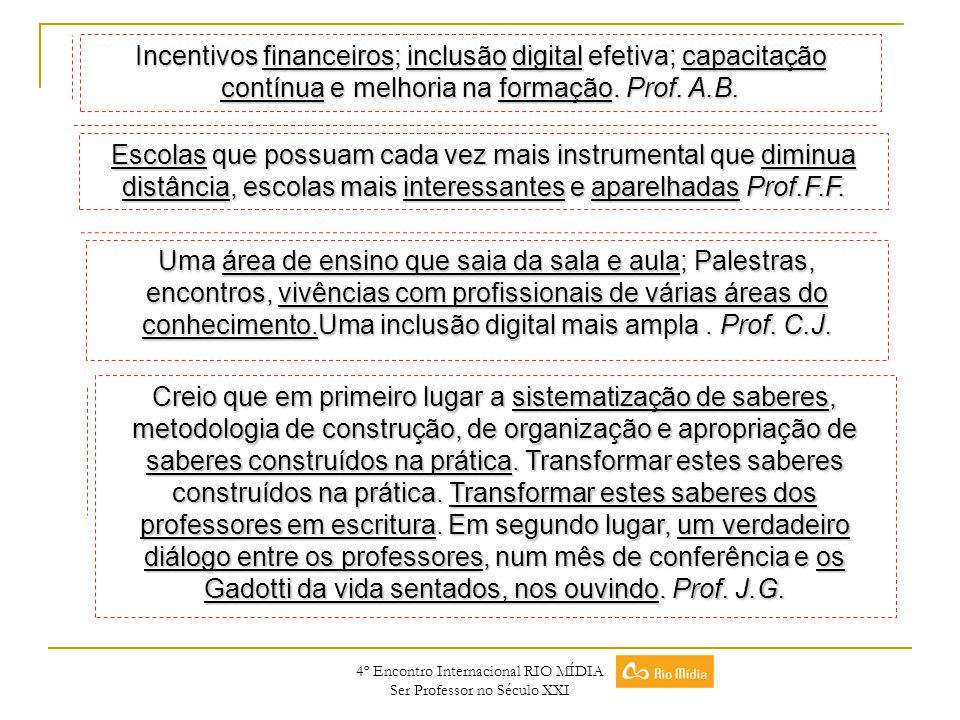 4º Encontro Internacional RIO MÍDIA Ser Professor no Século XXI Escolas que possuam cada vez mais instrumental que diminua distância, escolas mais int