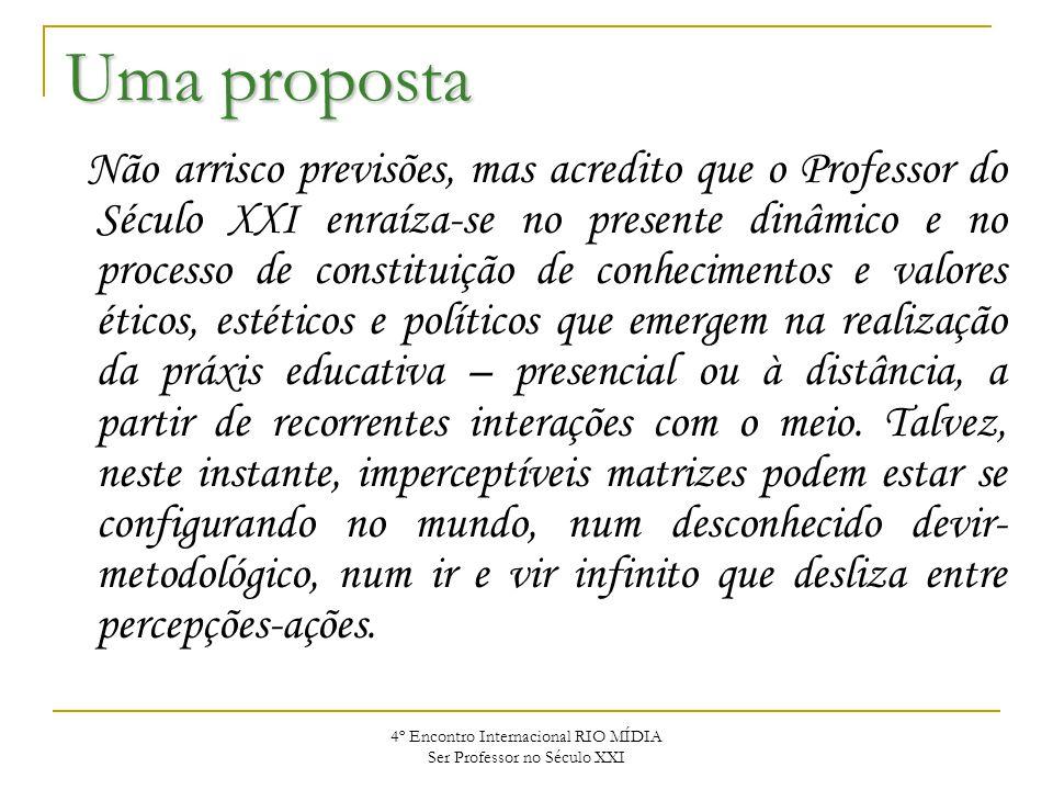 4º Encontro Internacional RIO MÍDIA Ser Professor no Século XXI Uma proposta Não arrisco previsões, mas acredito que o Professor do Século XXI enraíza
