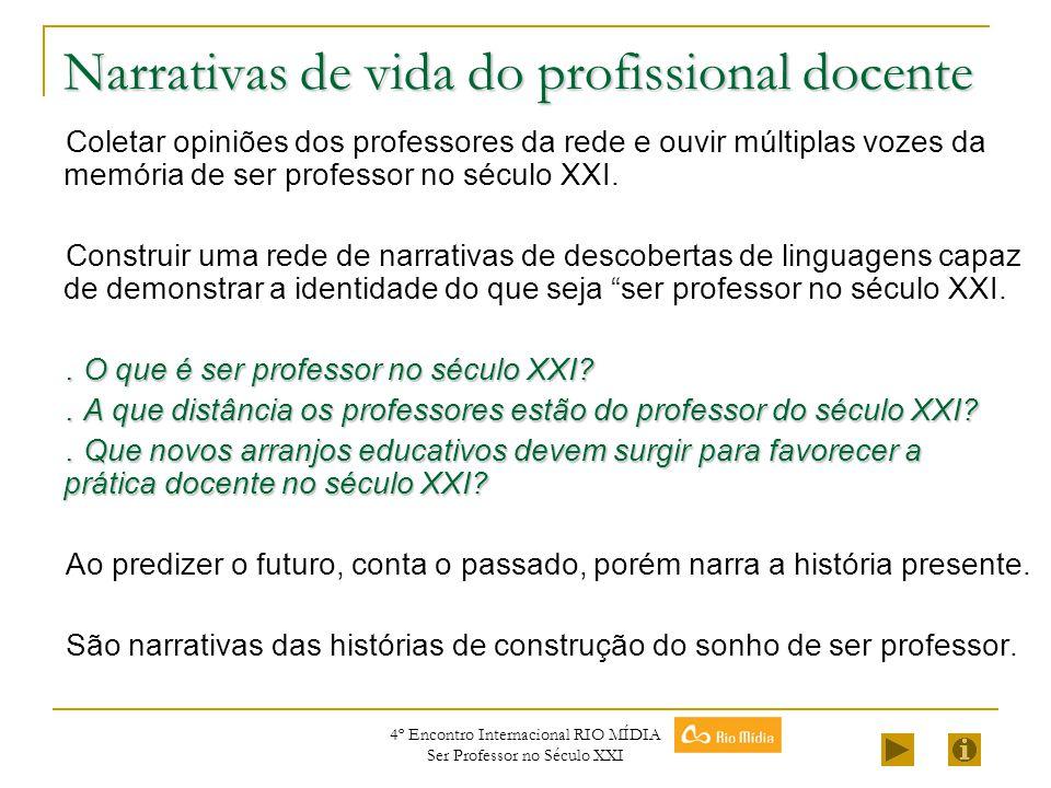 4º Encontro Internacional RIO MÍDIA Ser Professor no Século XXI Narrativas de vida do profissional docente Coletar opiniões dos professores da rede e