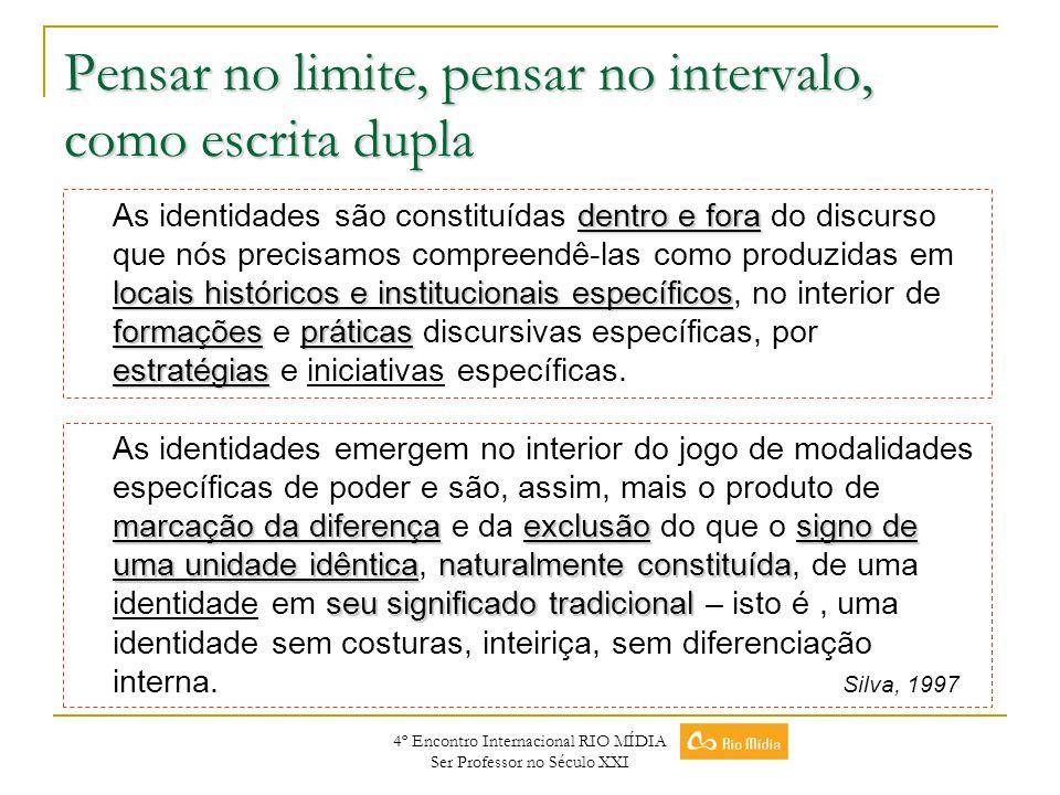 4º Encontro Internacional RIO MÍDIA Ser Professor no Século XXI Pensar no limite, pensar no intervalo, como escrita dupla dentro e fora locais históri