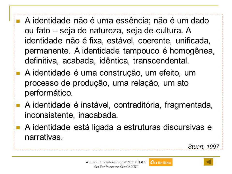 4º Encontro Internacional RIO MÍDIA Ser Professor no Século XXI A identidade não é uma essência; não é um dado ou fato – seja de natureza, seja de cul