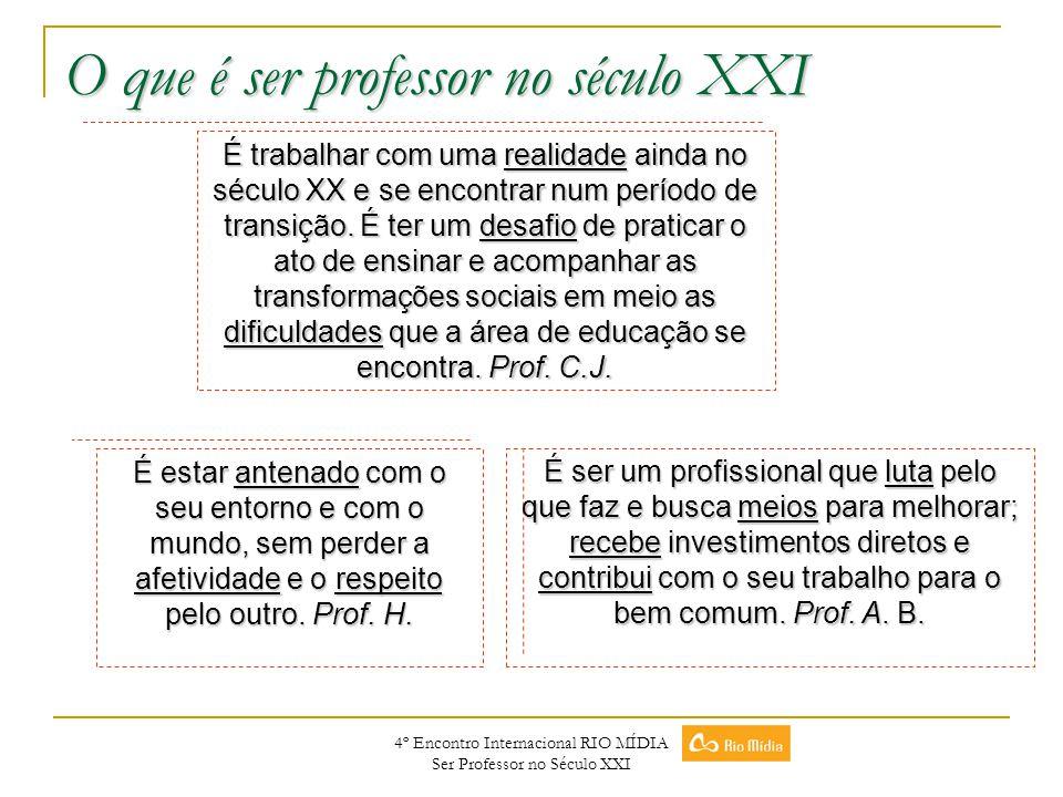 4º Encontro Internacional RIO MÍDIA Ser Professor no Século XXI O que é ser professor no século XXI É trabalhar com uma realidade ainda no século XX e
