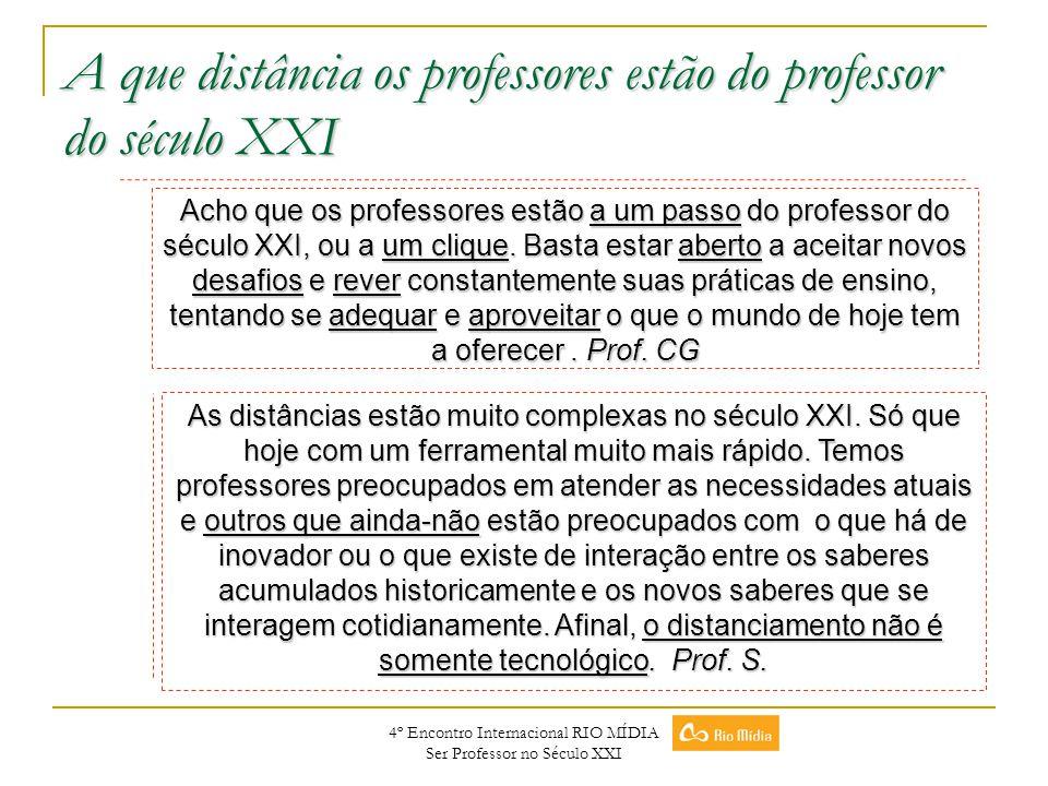 4º Encontro Internacional RIO MÍDIA Ser Professor no Século XXI A que distância os professores estão do professor do século XXI Acho que os professore