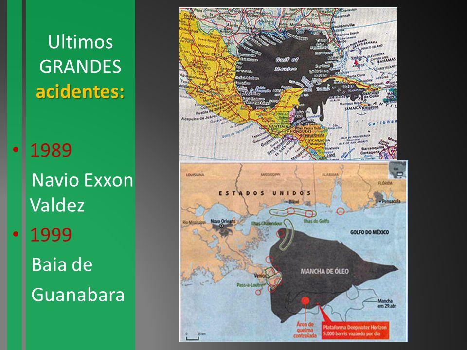 Ultimos GRANDESacidentes: 1989 Navio Exxon Valdez 1999 Baia de Guanabara