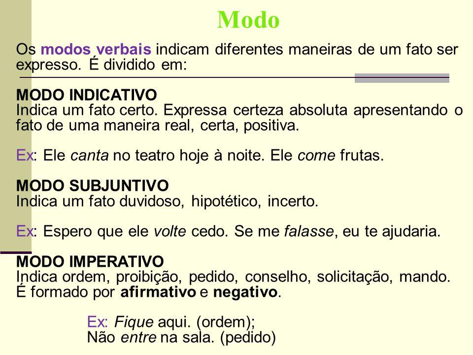 Modo Os modos verbais indicam diferentes maneiras de um fato ser expresso. É dividido em: MODO INDICATIVO Indica um fato certo. Expressa certeza absol