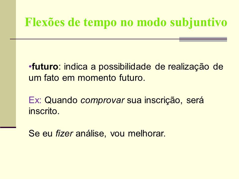 Flexões de tempo no modo subjuntivo futuro: indica a possibilidade de realização de um fato em momento futuro. Ex: Quando comprovar sua inscrição, ser