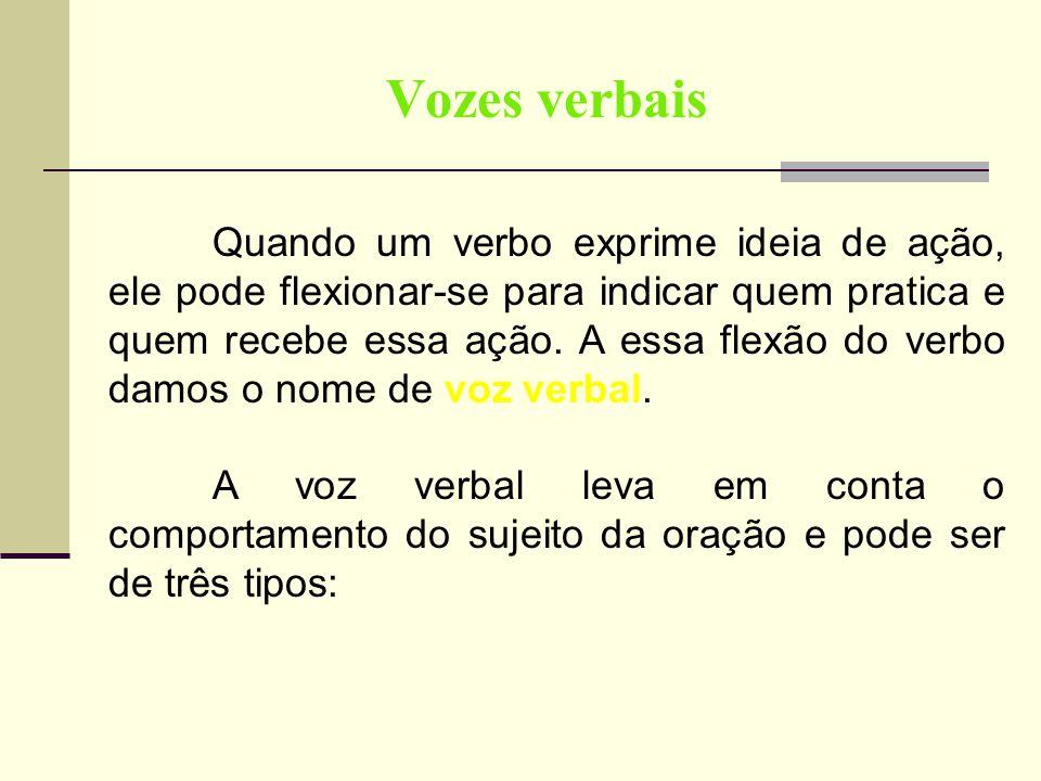 Vozes verbais Quando um verbo exprime ideia de ação, ele pode flexionar-se para indicar quem pratica e quem recebe essa ação. A essa flexão do verbo d